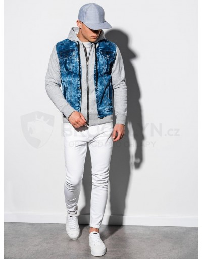 Men's Autumn jeans jacket C322 - denim/grey