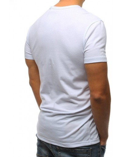 T-shirt męski z nadrukiem biały RX3185