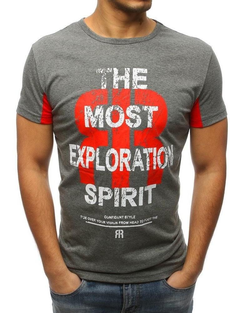 Pánské tričko s antracitovým potiskem RX3186
