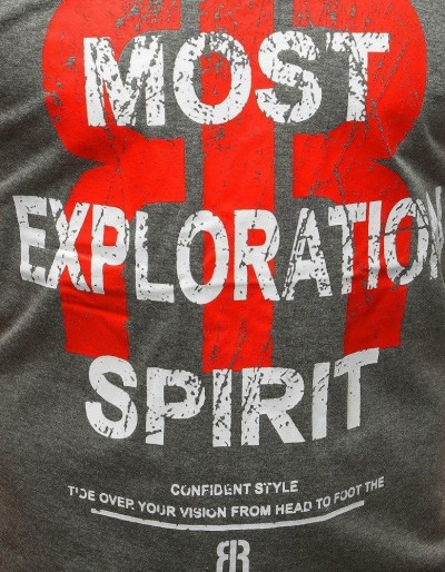T-shirt męski z nadrukiem antracytowy RX3186