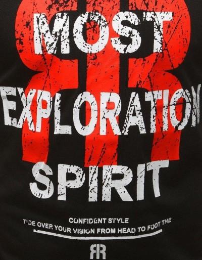 T-shirt męski z nadrukiem czarny RX3187
