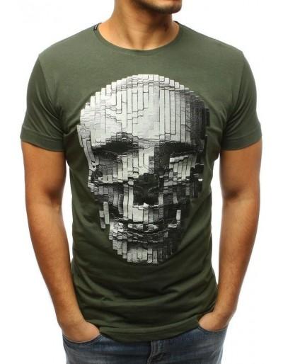Tmavě zelené pánské tričko RX3202 s potiskem