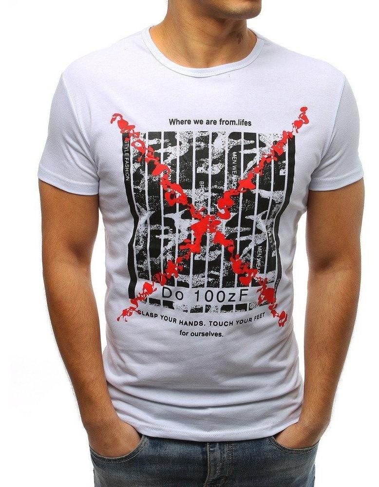 Bílé pánské tričko RX3225 s potiskem