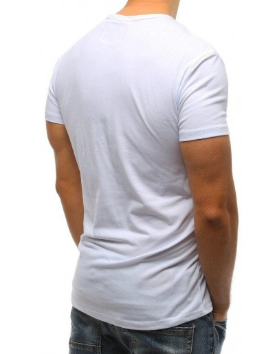 T-shirt męski z nadrukiem biały RX3225