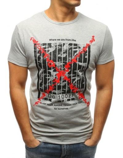Šedé pánské tričko RX3226 s potiskem