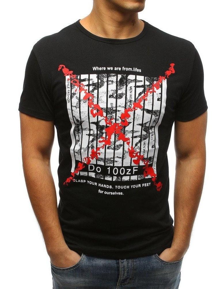 Černé pánské tričko RX3227 s potiskem