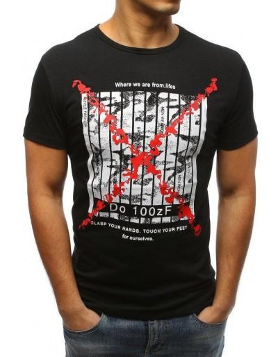 T-shirt męski z nadrukiem czarny RX3227