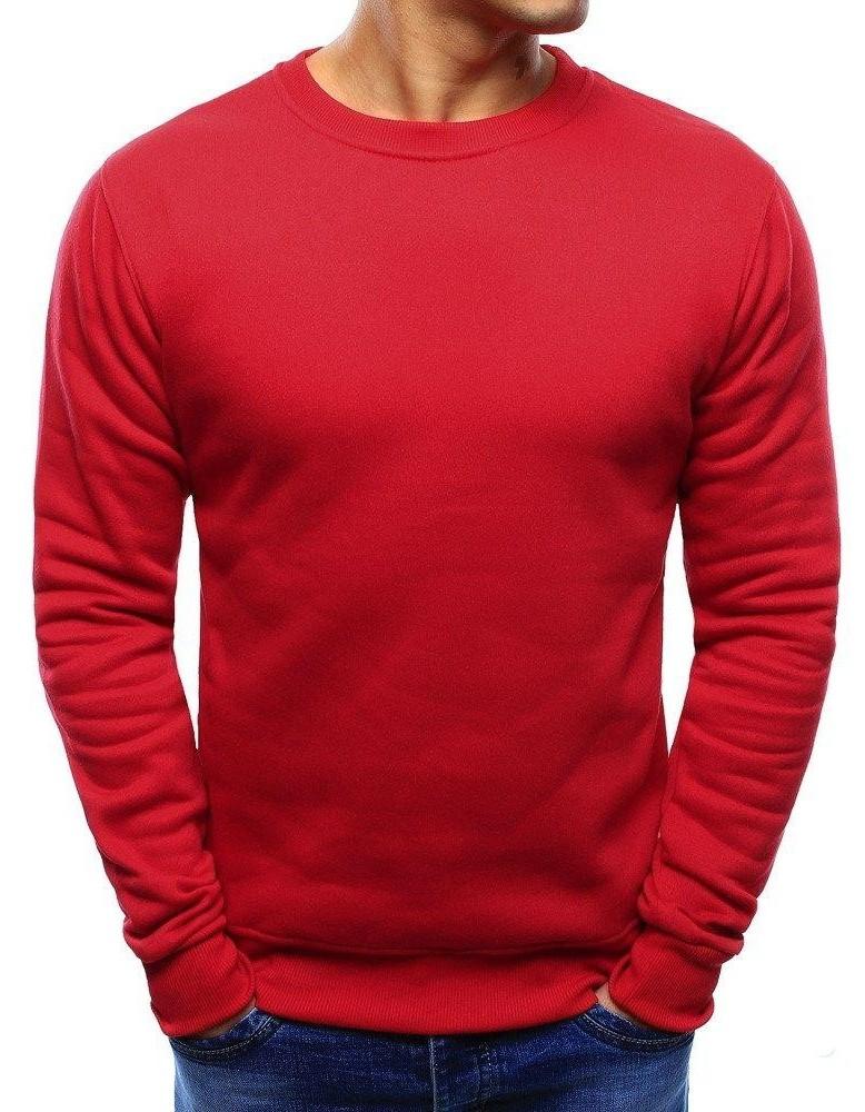 Červená pánská mikina bez čepice BX3867