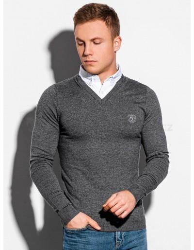 Pánský svetr E120 - tmavě šedá / melanž