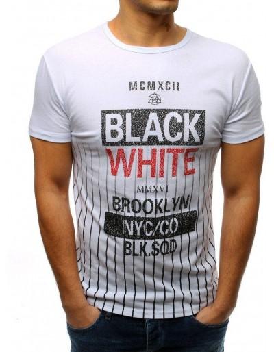 T-shirt męski z nadrukiem biały RX3370