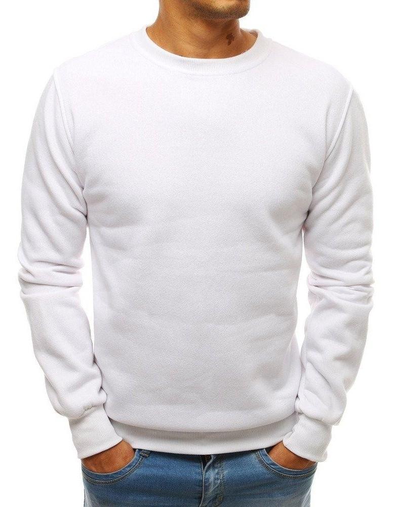 Bílá pánská mikina bez kapání BX3905