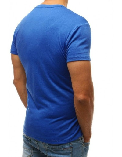 T-shirt męski bez nadruku niebieski RX3415