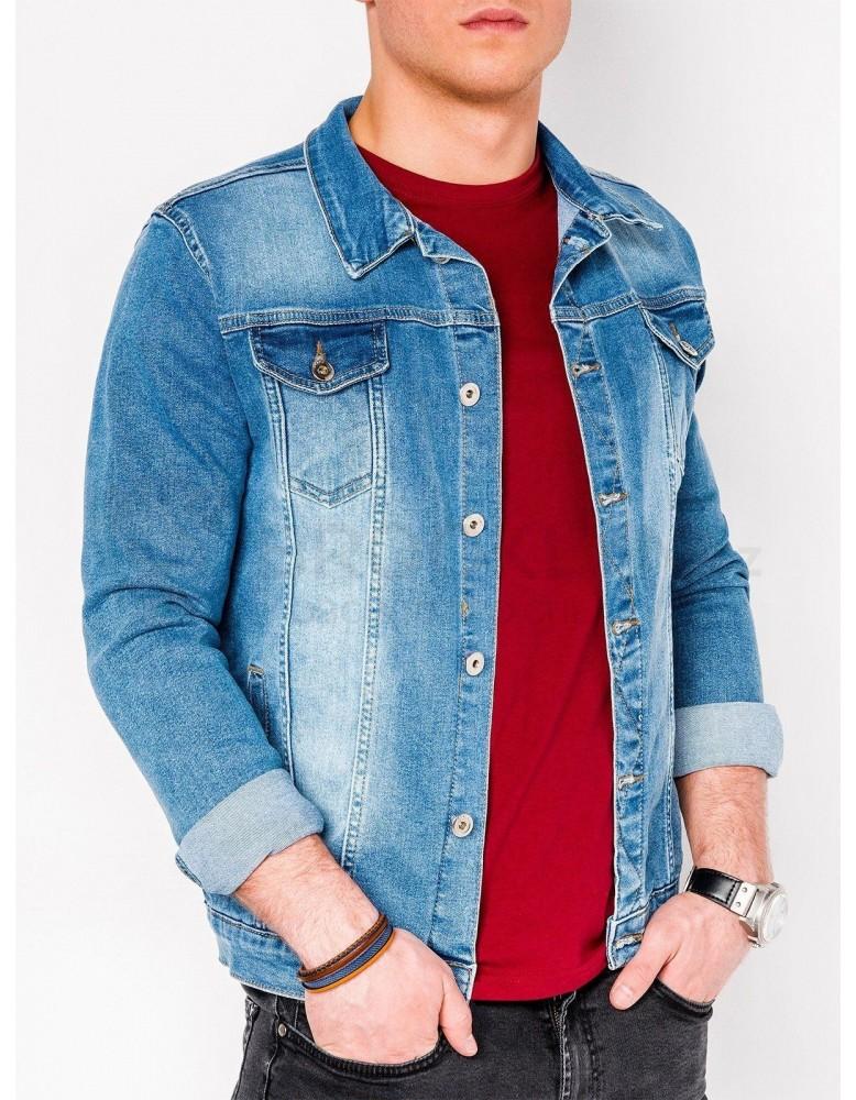 Pánská střednědobá džínová bunda C345 - světle modrá