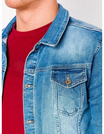 Men's mid-season jeans jacket C345 - light blue