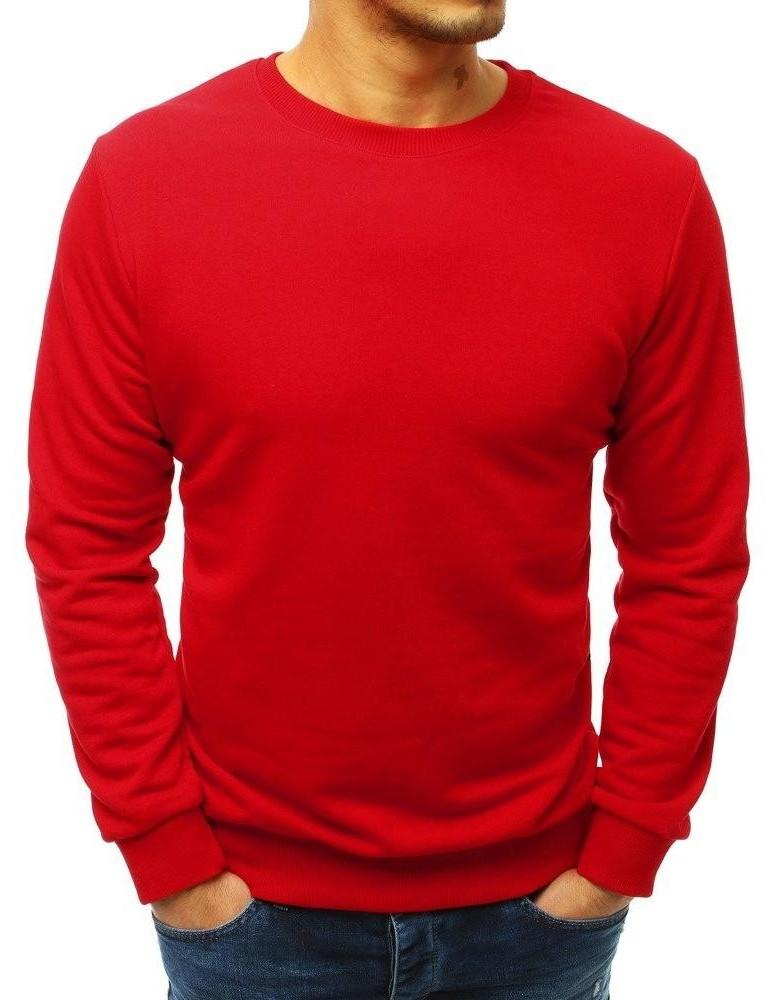 Červená pánská mikina bez víčka BX3908