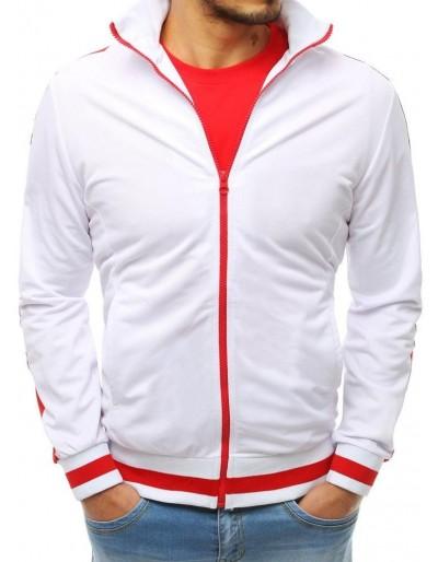 Bílá pánská mikina na zip bez kapání BX3915