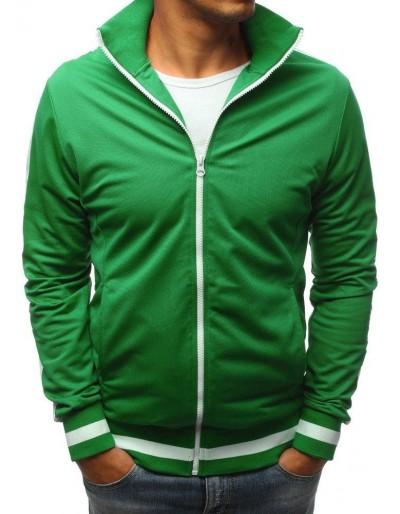 Zelená pánská mikina na zip bez kapání BX3916