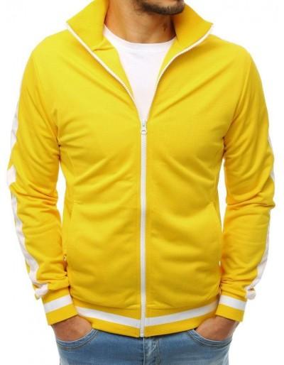 Žlutá pánská mikina na zip bez čepice BX3917