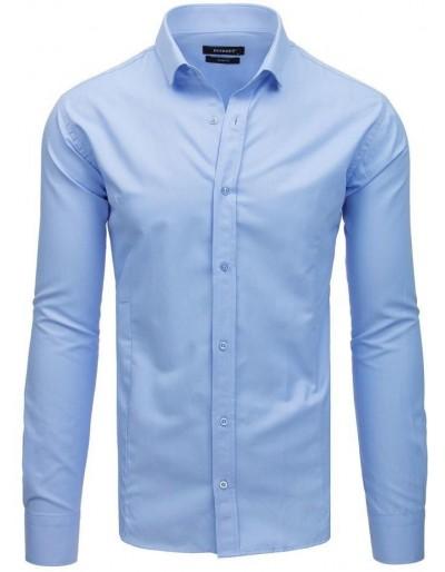 Modré pánské elegantní tričko s dlouhým rukávem DX1731