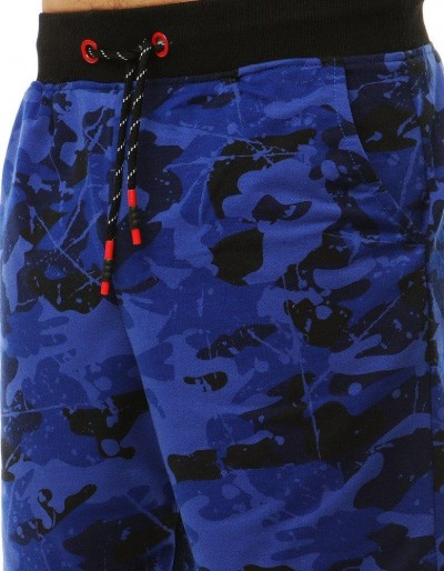 Krótkie spodenki dresowe męskie moro niebieskie SX0839