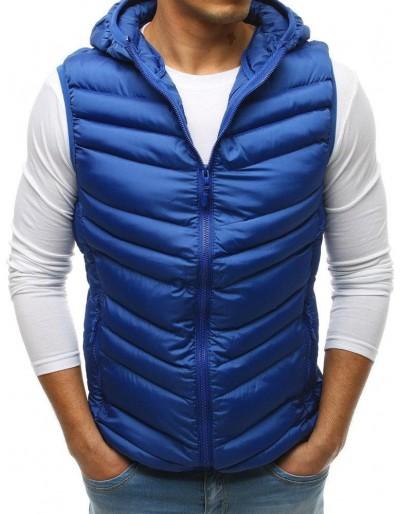 Pánská prošívaná vesta s kapucí modrá TX2663