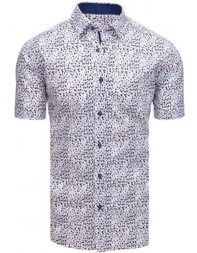 Bílé elegantní pánské tričko s krátkým rukávem KX0876