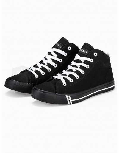 Men's high-top trainers T304 - black