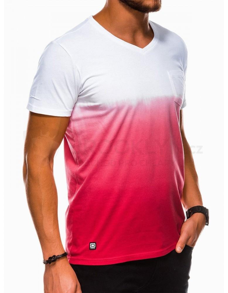 Pánské obyčejné tričko S1036 - červené