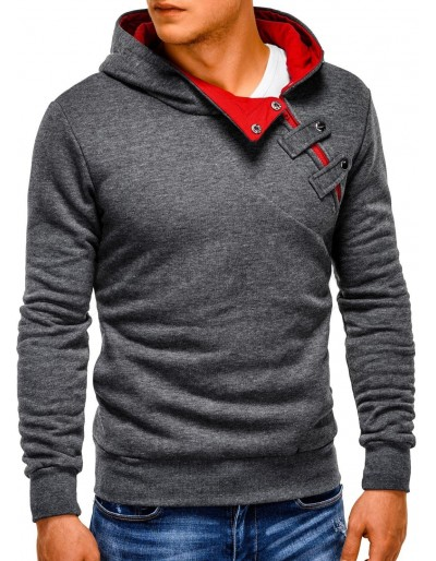 Pánská mikina PACO - tmavě šedá / červená
