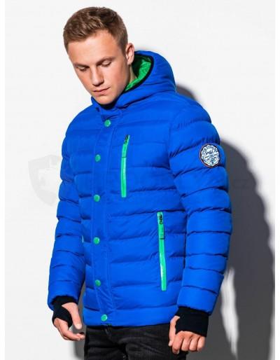 Men's winter quilted jacket C124 - blue