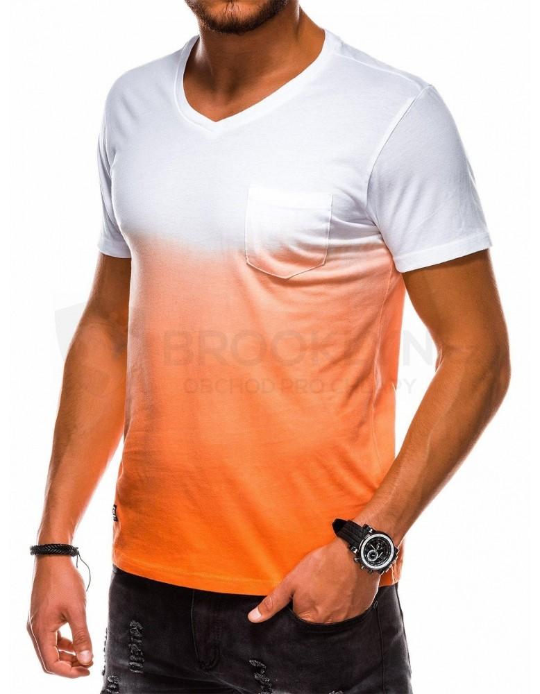 Pánské obyčejné tričko S1036 - oranžové