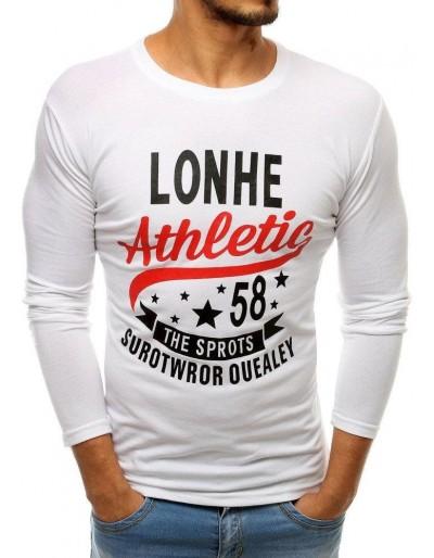 Bílé pánské tričko s dlouhým rukávem LX0505 s potiskem