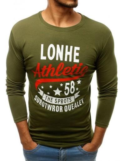 Zelené pánské tričko s dlouhým rukávem LX0506 s potiskem