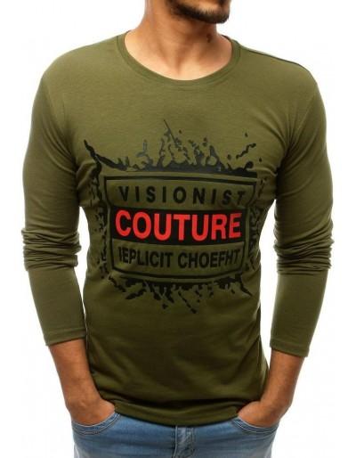 Zelené pánské tričko s dlouhým rukávem s potiskem LX0508