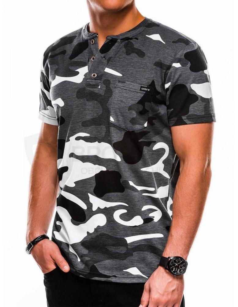 Pánské tričko s potiskem S1040 - černé / šedé
