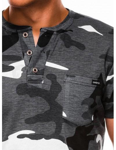 Men's printed t-shirt S1040 - black/grey
