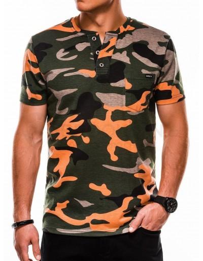 Pánské tričko s potiskem S1040 - zelené / oranžové