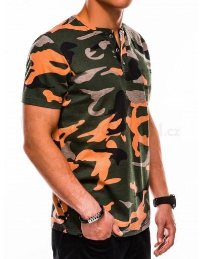 Men's printed t-shirt S1040 - green/orange