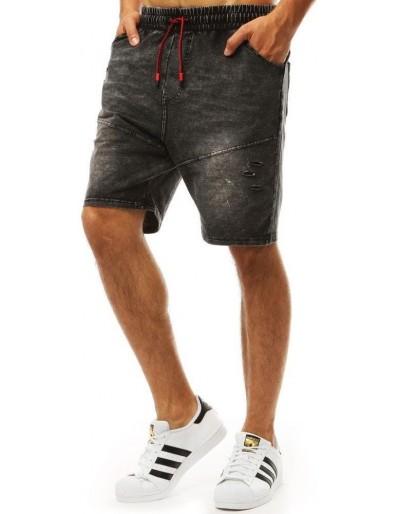 Pánské černé džínové kraťasy SX0992