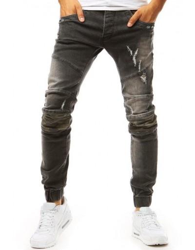 Tmavě šedé pánské riflové běžecké kalhoty UX1971