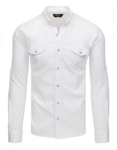 Bílé pánské tričko s dlouhým rukávem DX1753