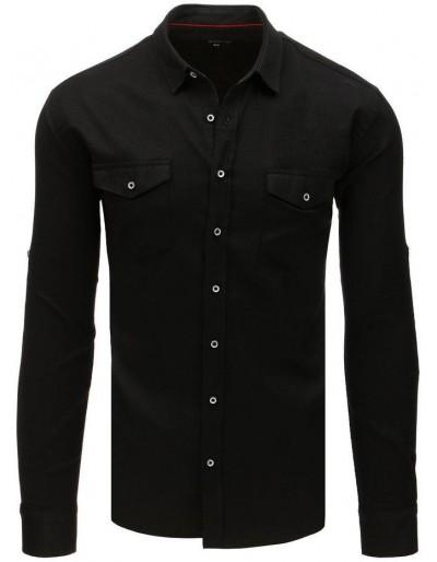 Černé pánské tričko s dlouhým rukávem DX1756