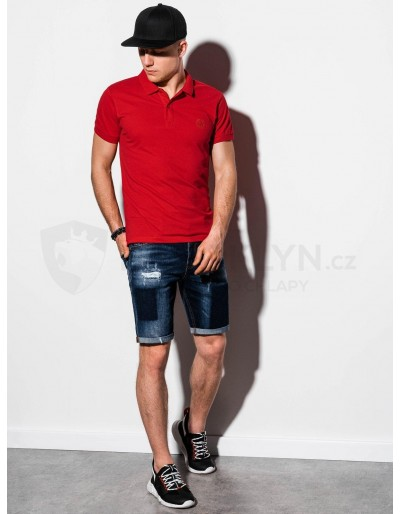 Men's plain polo shirt S1048 - red