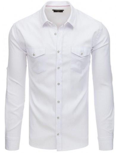 Bílé pánské tričko s dlouhým rukávem DX1759