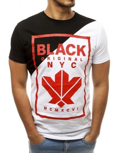 Pánské černé a bílé tričko s potiskem RX3740