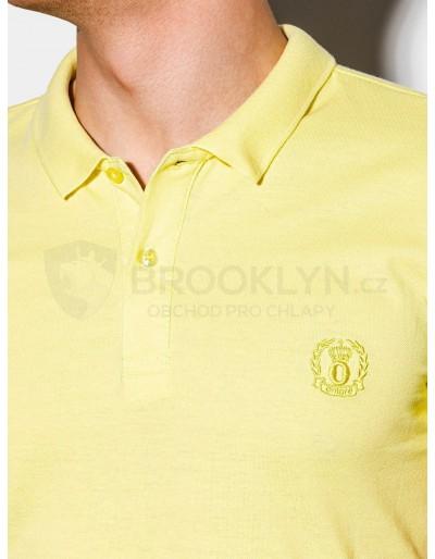 Men's plain polo shirt S1048 - light yellow