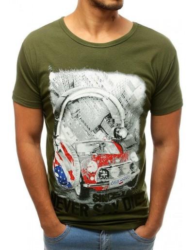 Zelené pánské tričko s potiskem RX3807