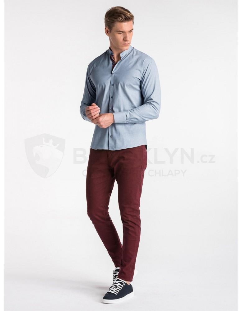 Pánská košile s dlouhým rukávem K488 - modrá