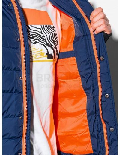 Men's winter quilted jacket C124 - navy