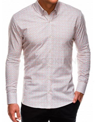 Pánská košile s dlouhým rukávem K495 - béžová / oranžová